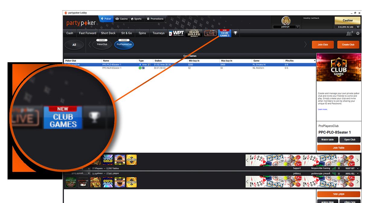 Club Games in der Software finden